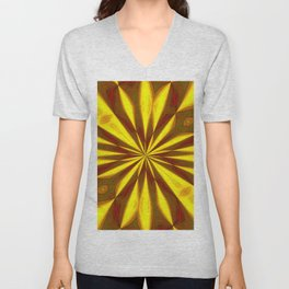 Bold Red, Green and Gold Repeating Starburst Unisex V-Neck