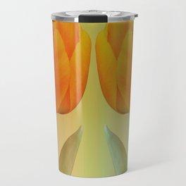 Head-to-Head, mixed media art with elegant Tulips Travel Mug