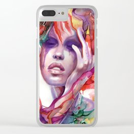 Migraine Watercolor Girl Clear iPhone Case