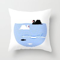 black swan Throw Pillows featuring Black Swan White Swan by Studio Su