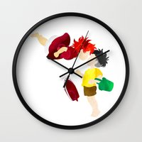 ponyo Wall Clocks featuring Ponyo and Sosuke white background by foreverwars