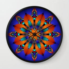 Decorative kaleidoscope flower with tribal patterns Wall Clock