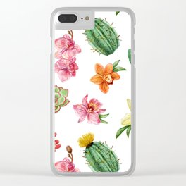 Watercolor Cactus on white background Clear iPhone Case