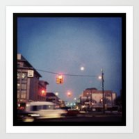 stoplight effect picture moon Art Print