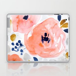Sweet Blush Floral, gold, gray, blue Laptop & iPad Skin