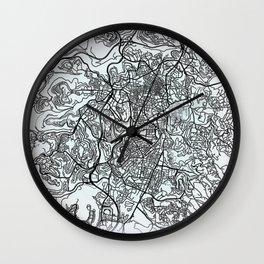 Jerusalem, Israel, White, City, Map Wall Clock