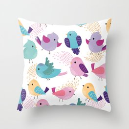 Lovely Cartoon Birds Pattern Throw Pillow
