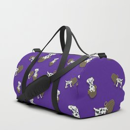 Purple puppy antics | Puppies at play Duffle Bag