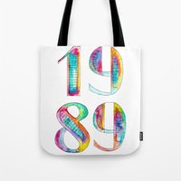 1989 Tote Bags featuring 1989 by Christina Guo