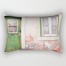Green Door Decayed House Print Rectangular Pillow