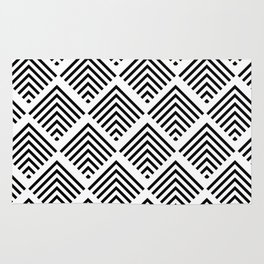Black and White Art Deco Geometric Diamond Pattern Rug