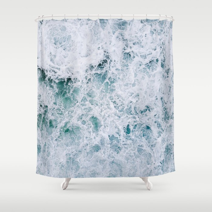 Waves In An Abstract White And Blue Seascape Shower Curtain By Regnumsaturni