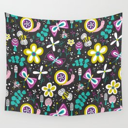 Happy Critters Black Wall Tapestry