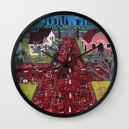 Red Brick Crossroads Wall Clock