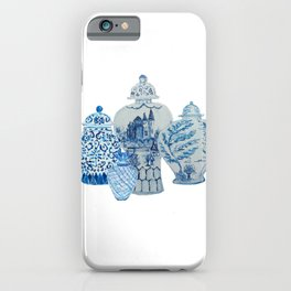 Four 4 Blue and White Ginger Jars  iPhone Case