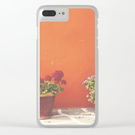 Orange wall and flowers Clear iPhone Case