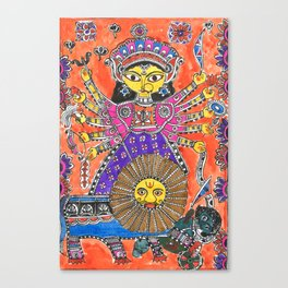 Madhubani - Orange Durga Canvas Print