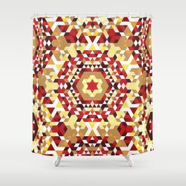 Red Radial Triangles Pattern Shower Curtain
