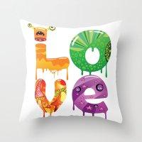 cartoon Throw Pillows featuring cartoon by Cheese Alien