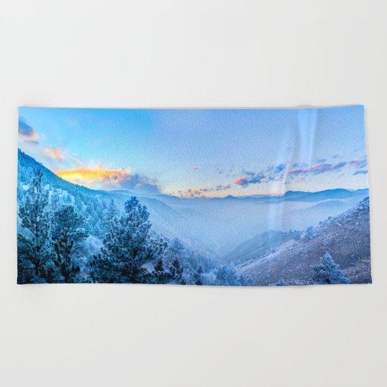 Snow Mountains Sunrise Beach Towel