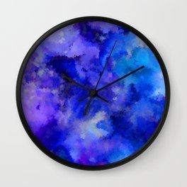 Abstract Art Pour - Blue, Purple and Grey Wall Clock