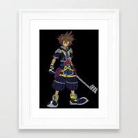 kingdom hearts Framed Art Prints featuring Kingdom Hearts: Sora by NeleVdM