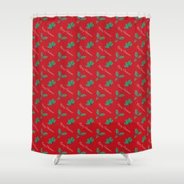 Holy Berry Merry Christmas on Red Shower Curtain