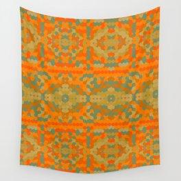 SAHARA retro bright orange and mellow gold design Wall Tapestry