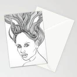 Halloween Vampire Girl Ink Drawing Stationery Cards