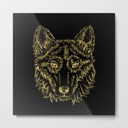 Golden Wolf Metal Print