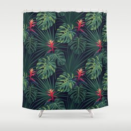 Tropical pattern with Guzmania flowers Shower Curtain