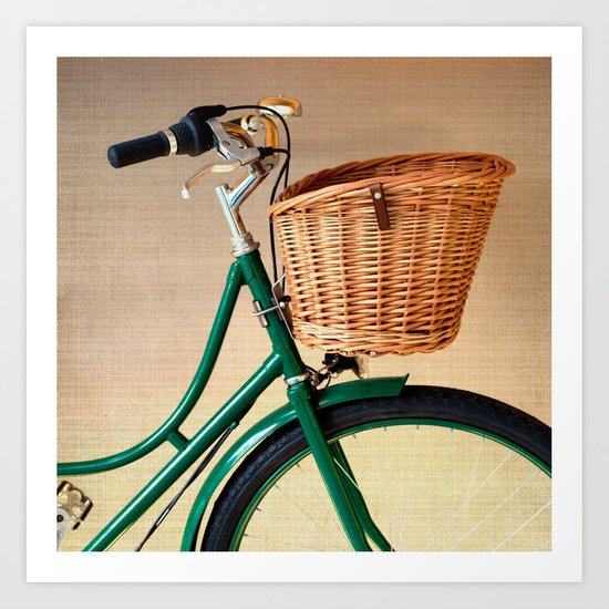 Vintage green bicycle with basket and textured background  Art Print