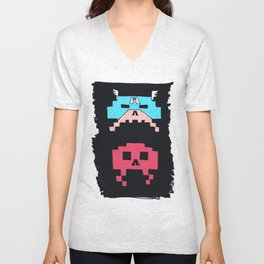 Captain America  & Red Skull space invaders Unisex V-Neck