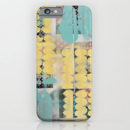 Abstract yellow and blue iPhone Case