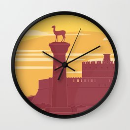 Rhodes, The castle at the port (GR) Wall Clock