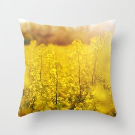 Colza field with sunset Throw Pillow