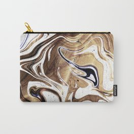 Metallic Gold Purple White Marble Swirl Carry-All Pouch