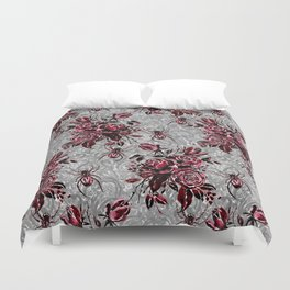 Vintage Roses and Spiders on Lace Halloweeen Watercolor Duvet Cover