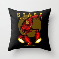 iron giant Throw Pillows featuring Giant Iron Man by harebrained