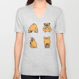 Pizza Yoga with The Pug Unisex V-Neck