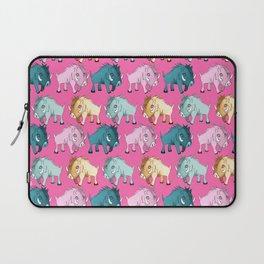 Cute Pink Kawaii Wild Boar Watercolor Pattern Print Laptop Sleeve