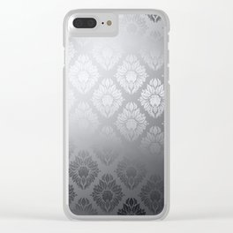 """""""Neutral gray Damask Pattern"""" Clear iPhone Case"""