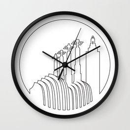 Kansas City - Minimalist Line Art Skyline Wall Clock
