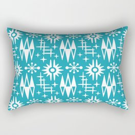 Mid Century Modern Atomic Space Age Pattern Turquoise Rectangular Pillow