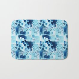 Study in blue, watercolor Bath Mat