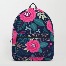 Floral pattern. Bright beautiful roses on a blue background. Backpack