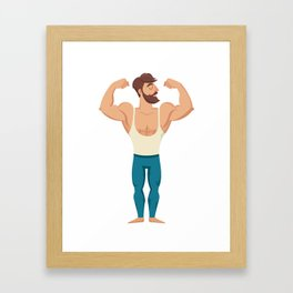 The man with the muscles. Sexy bearded, muscular jock in jeans. Posing bodybuilding. Isolated vector Framed Art Print