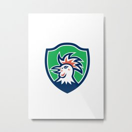 Cockerel Rooster Head Shield Retro Metal Print