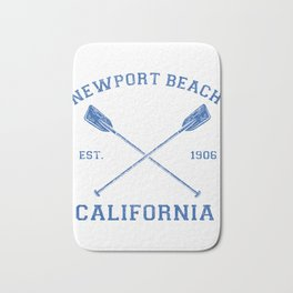 Vintage Newport Beach Vacation Illustration Bath Mat