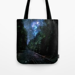 Train Tracks : Next Stop Anywhere Blue Side View Tote Bag